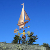 Yacht/Sailboat Weathervane front right view on blue sky background.
