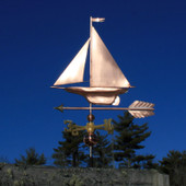 Yacht/Sailboat Weathervane left angle on blue sky background.