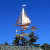 Yacht/Sailboat Weathervane left rear view on blue sky background.