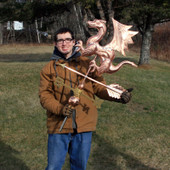 Nate holding Dragon Weathervane