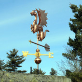 Dragon Weathervane left rear view on blue sky background
