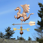 Dragon Weathervane left angle view on blue sky background