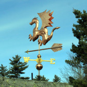 Dragon Weathervane rear view on blue sky background