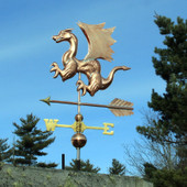 Dragon Weathervane left front view on blue sky background