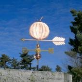 Pumpkin Weathervane on an  arrow left side view
