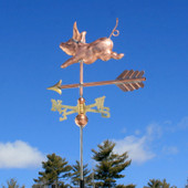 Small Pig Weathervane rear left angle view on blue sky background