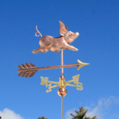 Small Pig Weathervane right front angle view on blue sky background