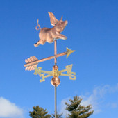 Small Pig Weathervane front angle view on blue sky background