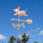 Small Pig Weathervane left front angle view on blue sky background