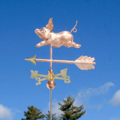 Small Pig Weathervane left side view on blue sky background