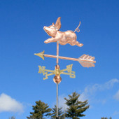 Small Pig Weathervane left angle view on blue sky background