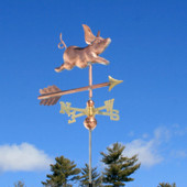 Small Pig Weathervane front right view on blue sky background