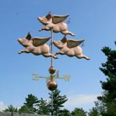 Grand Three Flying Pig Weathervane