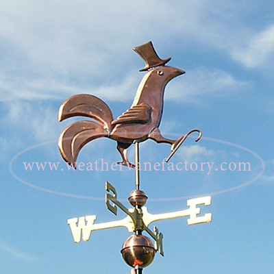 Rooster Weathervane Wearing a Top Hat and cane side right view on blue sky