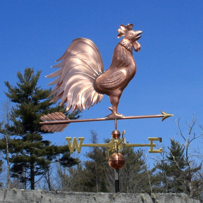 Large Triple Tail  Crowing Rooster Weathervane right side view on blue sky background