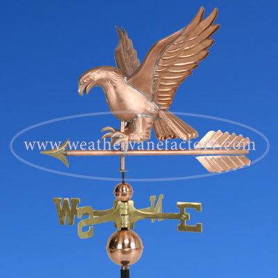 Attack Eagle Weathervane Left Side View on Blue Sky Background