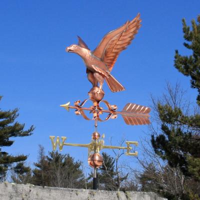 Georgian Eagle Weathervane left side view on blue sky background
