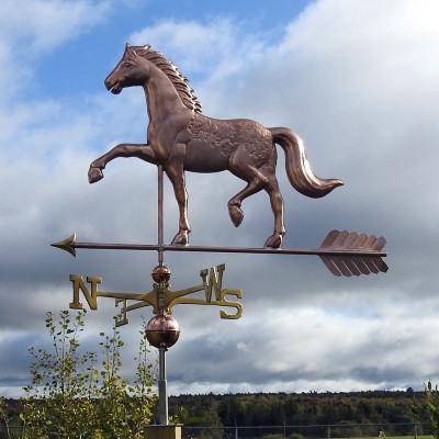 English Horse Weathervane Side Image on Cloudy Background