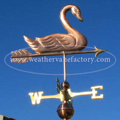 Swan Weathervane right side view on blue sky background