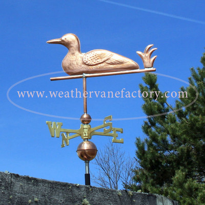 loon weathervane side view on blue sky background image