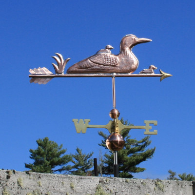 Loon and Chicks Weathervane right side view on blue sky background
