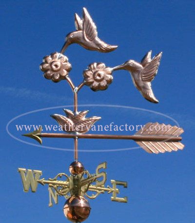 Double Hummingbird Weathervane left side view on blue sky background