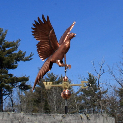 Flying Pheasant Weathervane right front view on blue sky background