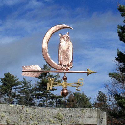 Owl in Moon Weathervane right rear view on cloudy sky background.