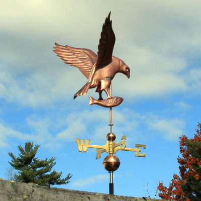 osprey weathervane back right view on blue and cloudy sky background