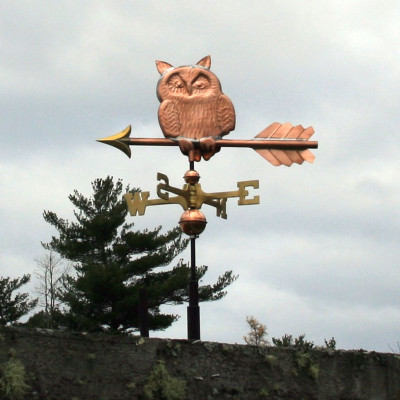 small owl weathervane left side view on cloudy background