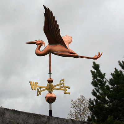 Flying Heron Weathervane side view on stormy background image