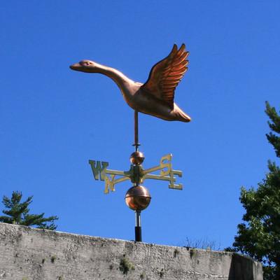 goose weathervane left side view on blue sky background