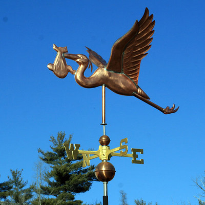 stork with baby weathervane left side view on blue sky background