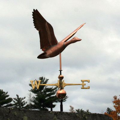 Large Flying Duck Weathervane right side view on cloudy background