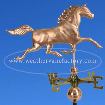Horse Weathervane right side view on blue sky background image