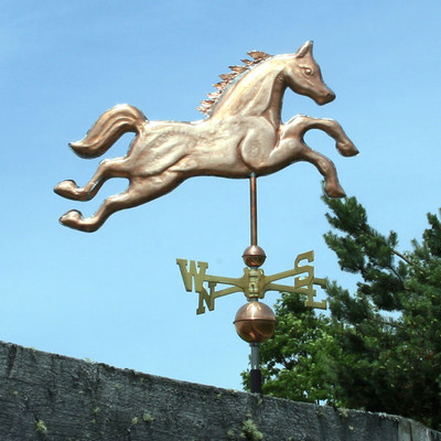 Jumping Horse Weathervane right side view on blue sky background
