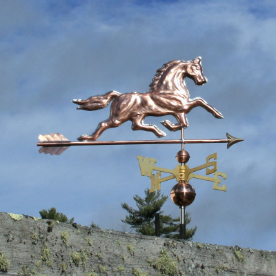 Running Horse Weathervane right side view on blue sky background