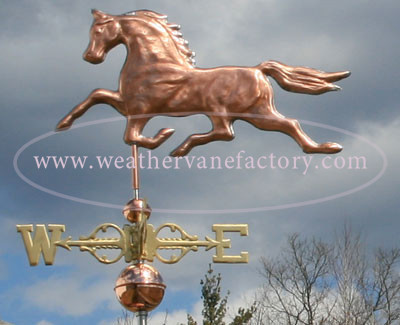 Running Horse Weathervane left side view on cloudy background