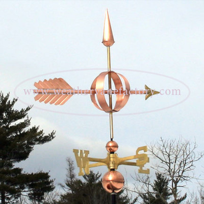 Arrow Sphere Weathervane right side view on blue sky background