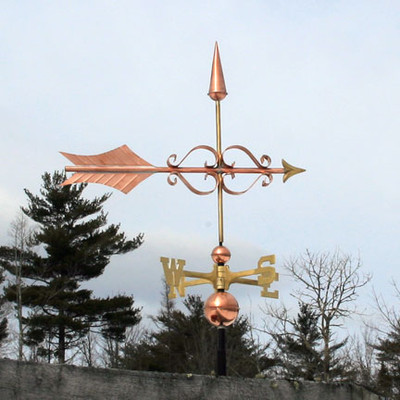 Fancy Arrow Weathervane right side view on a blue sky background