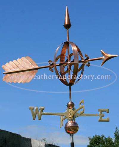 Georgian Arrow Weathervane right side view on blue sky background