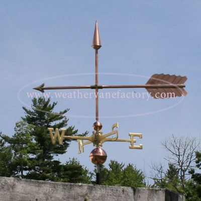 Large Straight Arrow Weathervane left side view on blue sky background