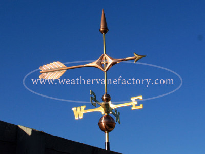 Northern Arrow Weathervane right side view on blue background