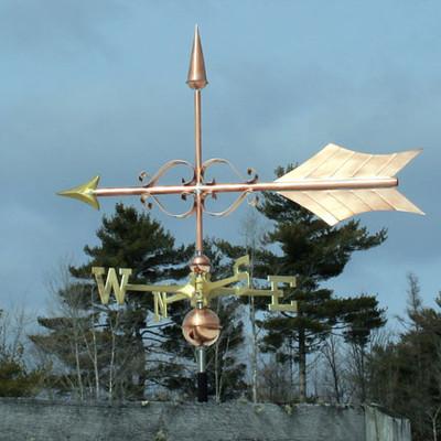 Large Fancy Arrow Weathervane left side view on blue sky background