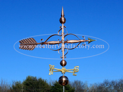 Large Victorian Arrow Weathervane right side view on blue sky background