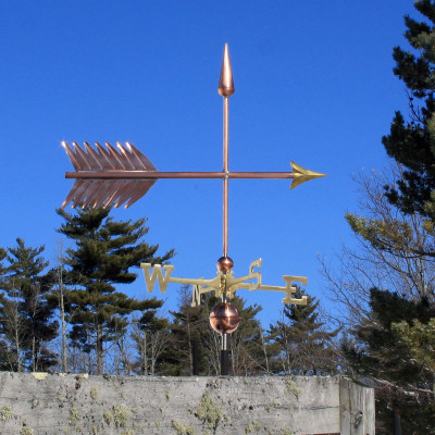 Large Arrow Weathervane right side view on blue sky background