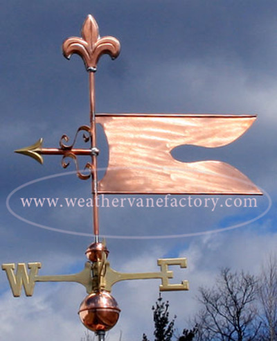Banner/Flag Weathervane left side view with stormy background
