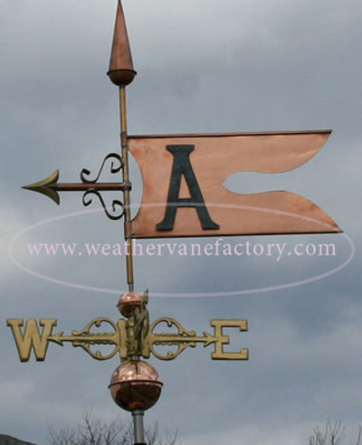 Banner with Letter weathervane left side view on stormy background