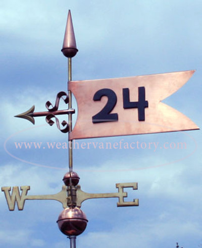 Banner Weathervane left side view on cloudy sky background