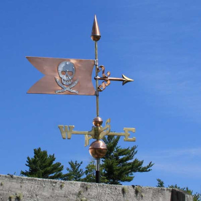 Skull and Swords Banner Weathervane right side view on blue sky background.